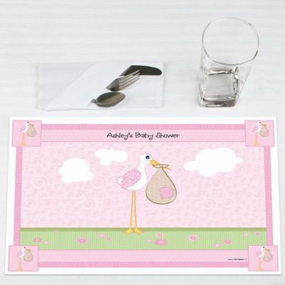 Stork Baby Girl   Personalized Baby Shower Placemats