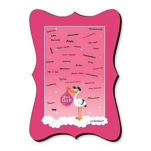 Girl Special Delivery - Unique Alternative Guest Book - Pink Stork Baby Shower Signature Mat