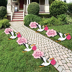 Girl Special Delivery – Baby Announcement Lawn Decorations - Outdoor Pink Stork Baby Shower Yard Decorations - 10 Piece