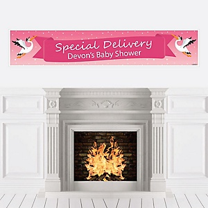 Girl Special Delivery - Personalized Pink Stork Baby Shower Banner