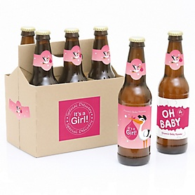Girl Special Delivery - Decorations for Women and Men - 6 Pink Stork Baby Shower Beer Bottle Labels and 1 Carrier - Girl Baby Gift