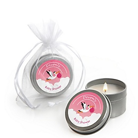 Girl Special Delivery - Personalized Pink Stork Baby Shower Candle Tin Favors - Set of 12