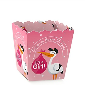 Girl Special Delivery - Party Mini Favor Boxes - Personalized Pink Stork Baby Shower Treat Candy Boxes - Set of 12
