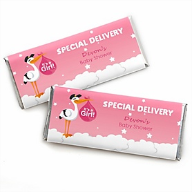 Girl Special Delivery - Personalized Candy Bar Wrapper Pink Stork Baby Shower Favors- Set of 24