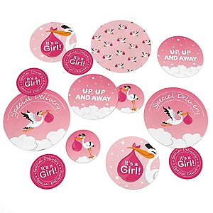 Girl Special Delivery - Pink Stork Baby Shower Giant Circle Confetti - Baby Shower Decorations - Large Confetti 27 Count