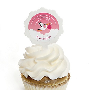 Girl Special Delivery - 12 Cupcake Picks & 24 Personalized Stickers - Pink Stork Baby Shower Cupcake Toppers
