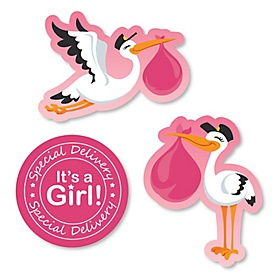 Girl Special Delivery - DIY Shaped Pink Stork Baby Shower Paper Cut-Outs - 24 ct