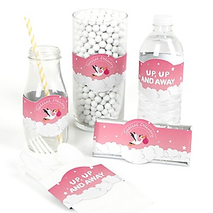 Girl Special Delivery - DIY Pink Stork Baby Shower Wrappers - 15 ct