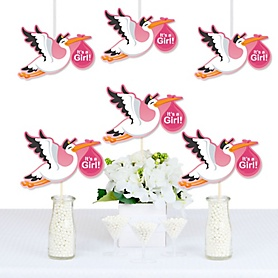 Girl Special Delivery - Decorations DIY Pink Stork Baby Shower Essentials - Set of 20