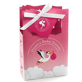 Girl Special Delivery - Personalized Pink Stork Baby Shower Favor Boxes - Set of 12