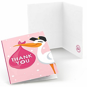 Girl Special Delivery - Pink Stork Baby Shower Thank You Cards - 8 ct