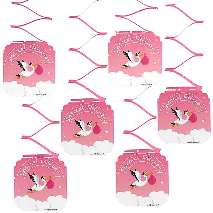 Girl Special Delivery - Pink Stork Baby Shower Hanging Decorations - 6 ct