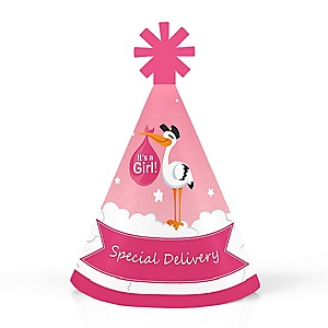 Girl Special Delivery - Personalized Mini Cone Pink Stork Baby Shower Party Hats - Small Little Party Hats - Set of 10