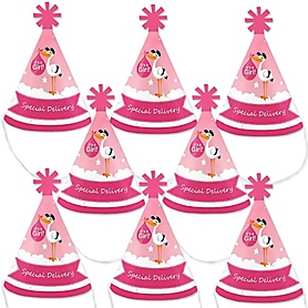 Girl Special Delivery - Mini Cone Pink Stork Baby Shower Party Hats - Small Little Party Hats - Set of 8