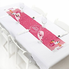 Girl Special Delivery - Personalized Pink Stork Baby Shower Petite Table Runner