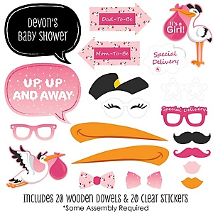 Girl Special Delivery - 20 Piece Pink Stork Baby Shower Photo Booth Props Kit