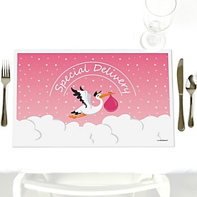 Girl Special Delivery - Party Table Decorations - Pink Stork Baby Shower Placemats - Set of 12