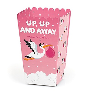 Girl Special Delivery - Personalized Pink Stork Baby Shower Popcorn Favor Treat Boxes - Set of 12
