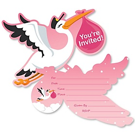 Girl Special Delivery - Shaped Fill-In Invitations - Pink Stork Baby Shower Invitation Cards with Envelopes - Set of 12