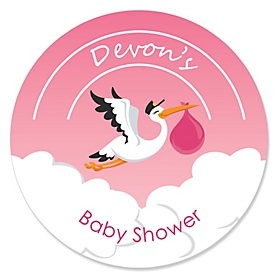 Girl Special Delivery - Personalized Pink Stork Baby Shower Sticker Labels - 24 ct