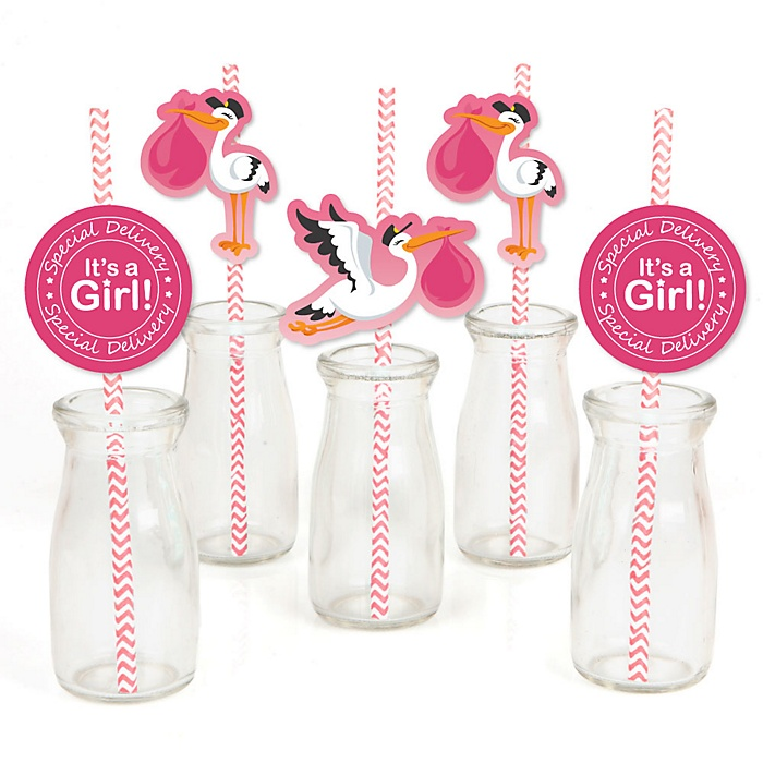 Girl Special Delivery - Paper Straw Decor - Pink Stork Baby Shower Striped Decorative Straws - Set of 24