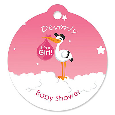 Girl Special Delivery Personalized Pink Stork Baby Shower Tags
