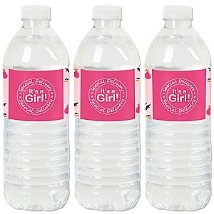 Girl Special Delivery - It's A Girl Stork Baby Shower Water Bottle Sticker Labels - Set of 20