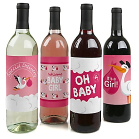 Girl Special Delivery - Decorations for Women and Men - Wine Bottle Labels Pink Stork Baby Gift - Set of 4