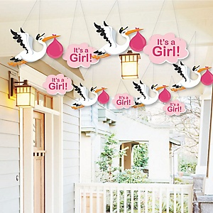 Hanging Special Delivery Girl – Baby Arrival Signs - Outdoor Pink Stork Baby Shower Hanging Porch & Tree Yard Decorations - 10 Pieces