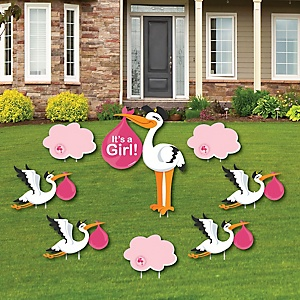 Girl Special Delivery – Baby Announcement Yard Sign & Outdoor Lawn Decorations - Pink Stork Baby Shower Yard Signs - Set of 8