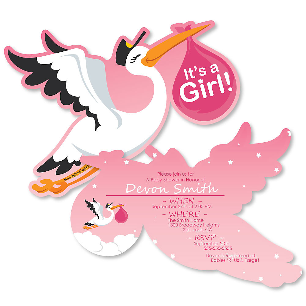 Girl Special Delivery Shaped Pink Stork Baby Shower Invitations Set Of 12