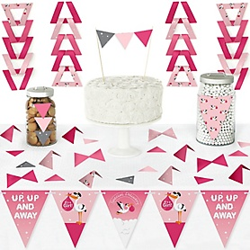 Girl Special Delivery - DIY Pennant Banner Decorations - It's A Girl Stork Baby Shower Triangle Kit - 99 Pieces