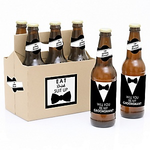 Suit Up - Decorations for Men - 6 Will You Be My Groomsman Beer Bottle Label Stickers and 1 Carrier