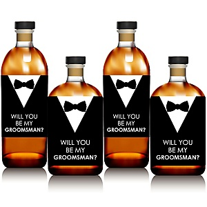 Suit Up - Will You Be My Groomsman Whiskey or Decorations for Men - Wine Bottle Label Stickers - Set of 4