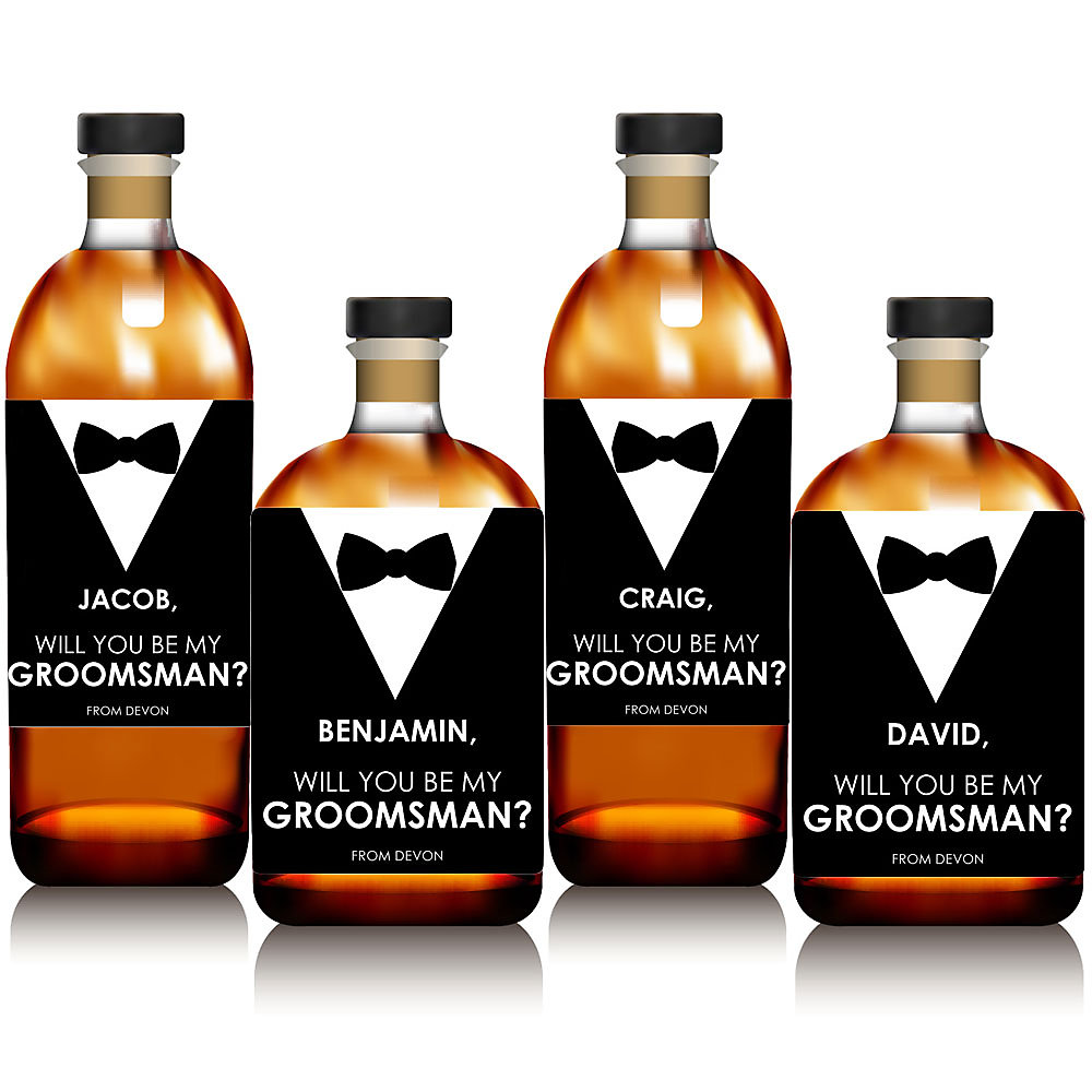 More Views Suit Up Personalized Will You Be My Groomsman Whiskey Or Wine Bottle Label