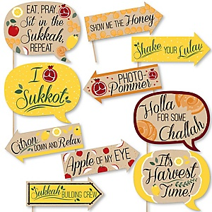 Funny Sukkot - Sukkah Jewish Holiday Photo Booth Props Kit - 10 Piece