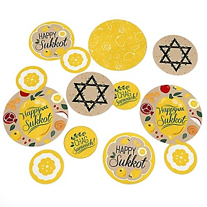 Sukkot - Sukkah Jewish Holiday Giant Circle Confetti - Party Decorations - Large Confetti 27 Count