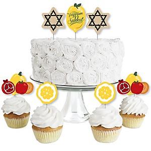 Sukkot - Dessert Cupcake Toppers - Sukkah Jewish Holiday Clear Treat Picks - Set of 24
