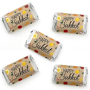 Sukkot - Mini Candy Bar Wrapper Stickers - Sukkah Jewish Holiday Small Favors - 40 Count
