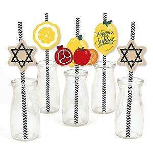 Sukkot - Paper Straw Decor - Sukkah Jewish Holiday Striped Decorative Straws - Set of 24