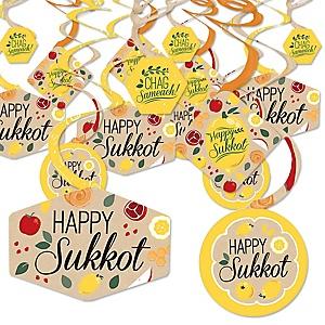 Sukkot - Sukkah Jewish Holiday Hanging Decor - Party Decoration Swirls - Set of 40