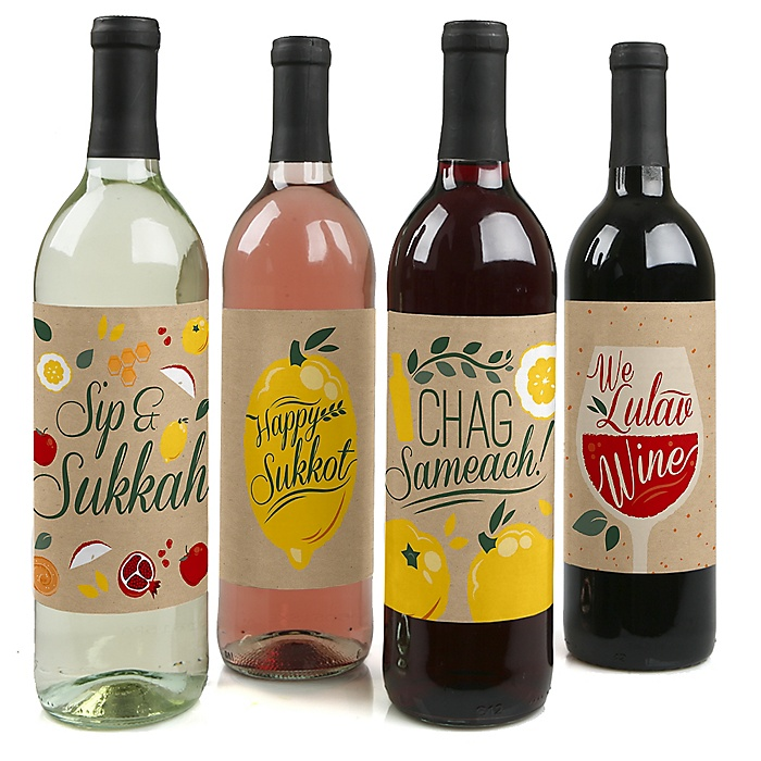 Sukkot - Sukkah Jewish Holiday Decorations for Women and Men - Wine Bottle Label Stickers - Set of 4