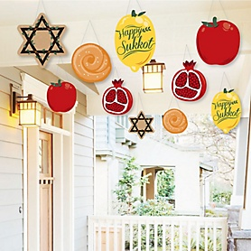 Hanging Sukkot - Outdoor Sukkah Jewish Holiday Hanging Porch & Tree Yard Decorations - 10 Pieces