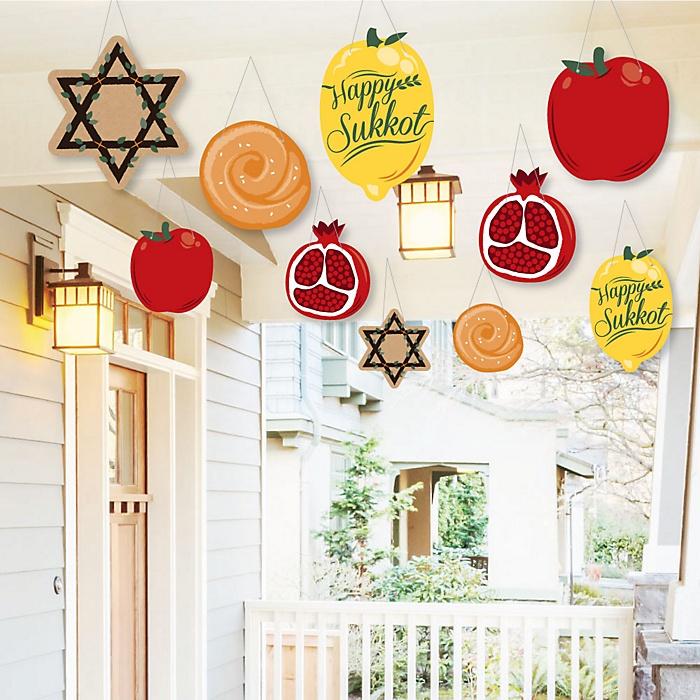 Hanging Sukkot - Outdoor Sukkah Jewish Holiday Hanging Porch & Tree Yard Decorations - 10 Pieces