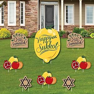 Sukkot - Yard Sign & Outdoor Lawn Decorations - Sukkah Jewish Holiday Yard Signs - Set of 8