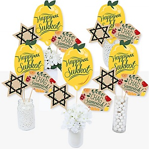Sukkot - Sukkah Jewish Holiday Centerpiece Sticks - Table Toppers - Set of 15