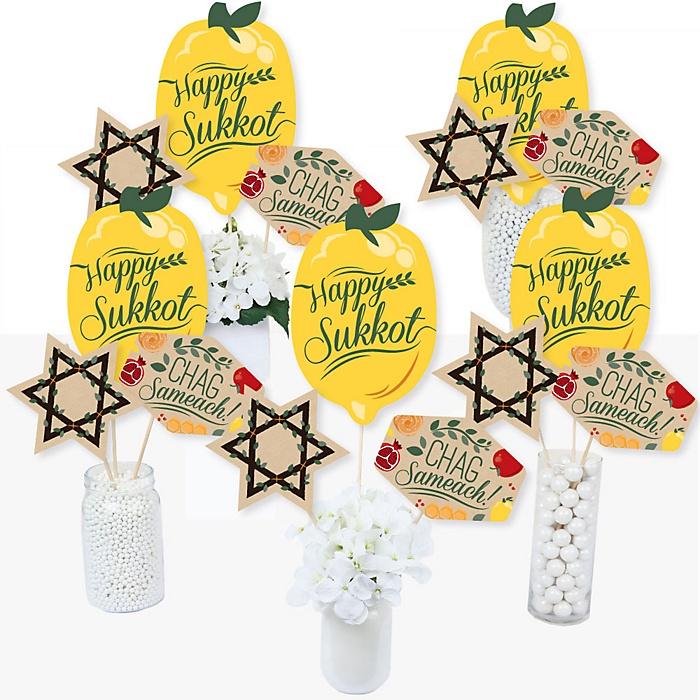 Sukkot - Sukkah Jewish Holiday Centerpiece Sticks - Table Toppers - Set of 15