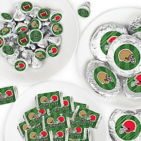 Super Football Bowl - Mini Candy Bar Wrappers, Round Candy Stickers and Circle Stickers - Sports Game Day Party Candy Favor Sticker Kit - 304 Pieces