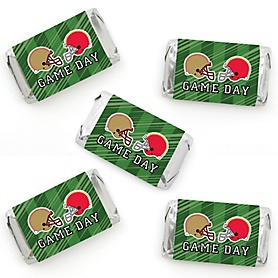 Super Football Bowl - Mini Candy Bar Wrapper Stickers - Sports Game Day Party Small Favors - 40 Count