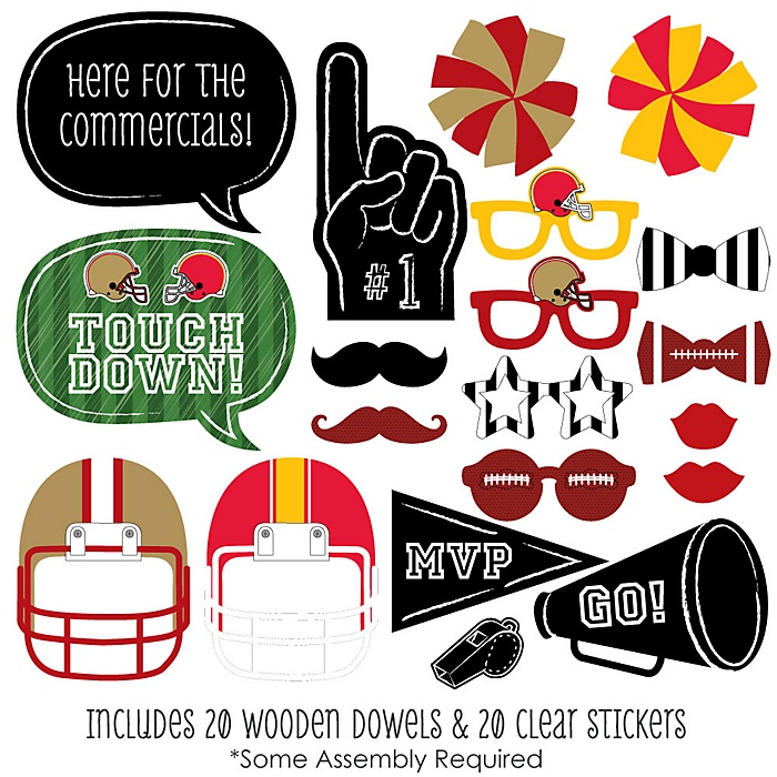 Super Football Bowl Party - 20 Piece Photo Booth Props Kit